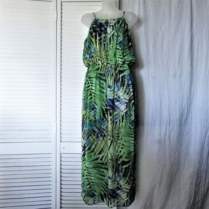 Enfocus Studio green blue poly maxi dress 12